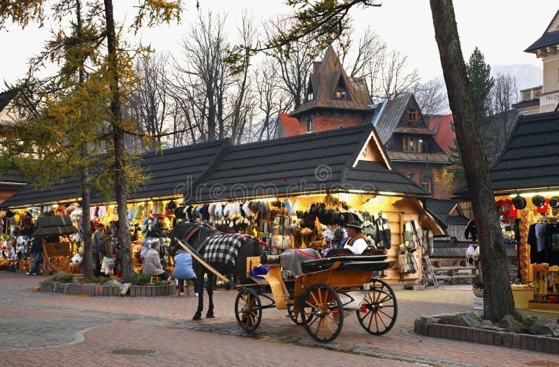 Улица Krupowki в Zakopane Польша стоковая фотография