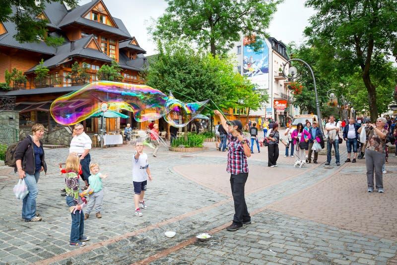 Улица Krupowki в Zakopane, Польше стоковое фото rf