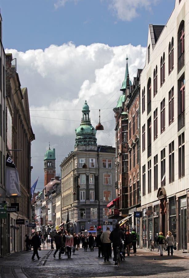 Улица Nygade в Копенгагене стоковые фотографии rf