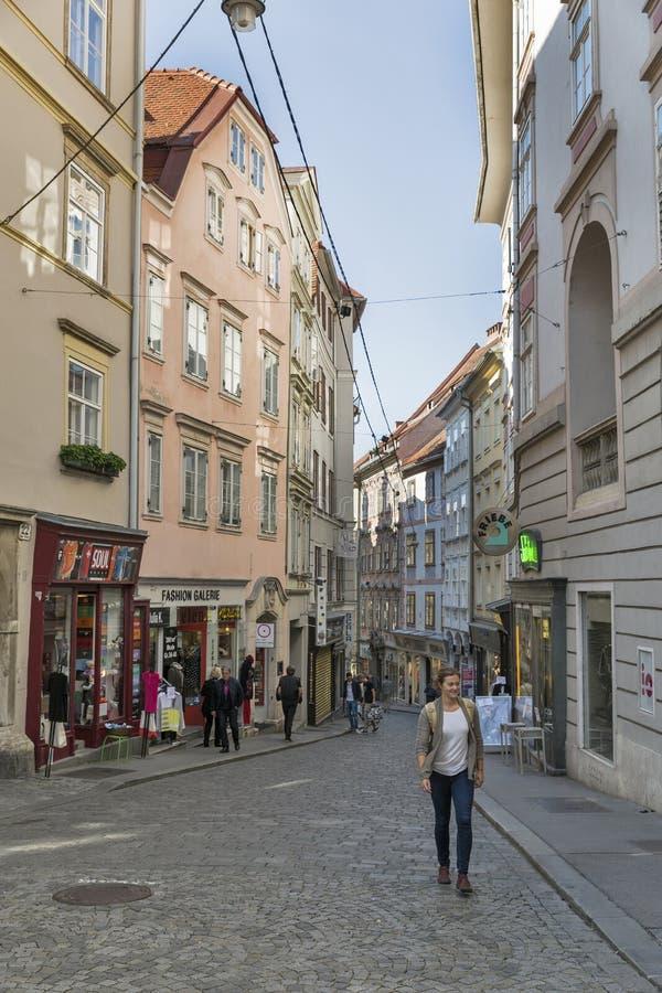 Улица Sporgasse в городке Граца старом, Австрии стоковое фото rf
