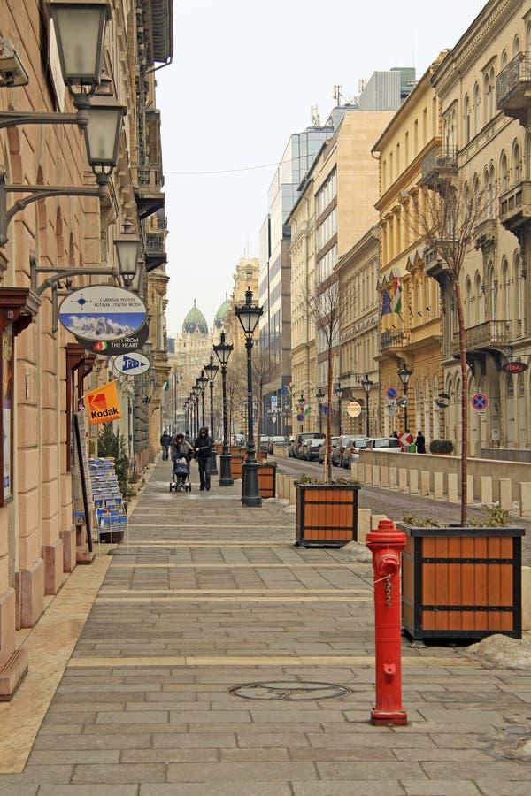 Улица Zrinyi в Будапеште, Венгрии стоковое фото rf