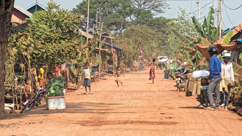 Улицы в соке Tonle, Камбодже стоковое изображение rf