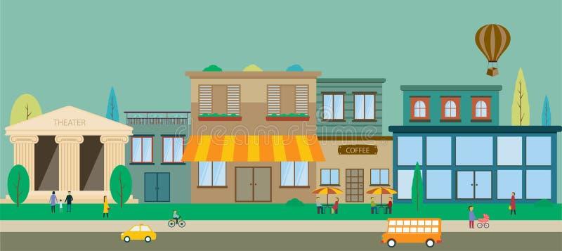 Улицы города в плоском дизайне иллюстрация вектора