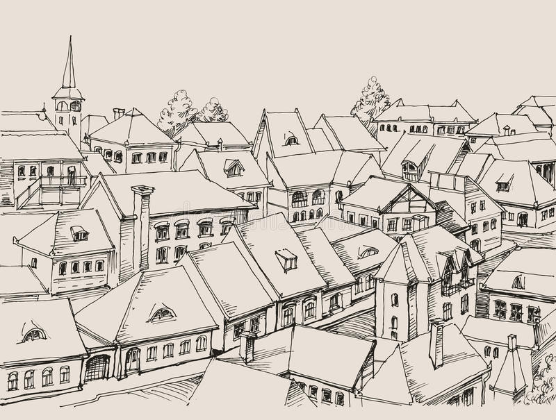 Улицы города увиденные сверху иллюстрация вектора