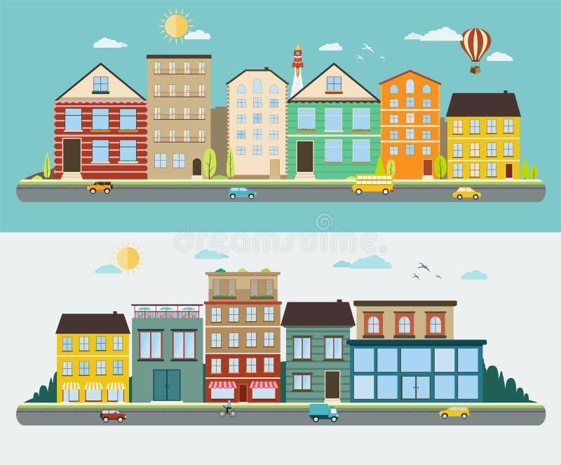 Улицы городка в плоском дизайне иллюстрация вектора