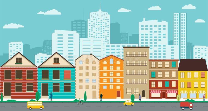 Улицы городка с взглядами небоскребов в плоском дизайне иллюстрация вектора