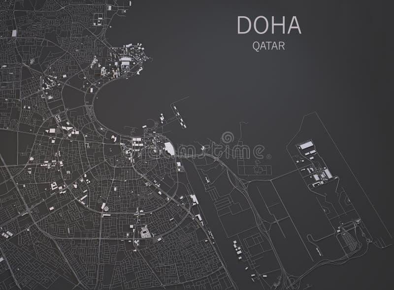 Улицы Дохи и здания 3d составляют карту, Катар иллюстрация штока