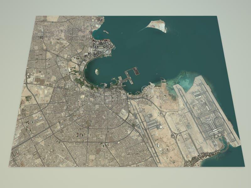 Улицы Дохи и здания 3d составляют карту, Катар бесплатная иллюстрация