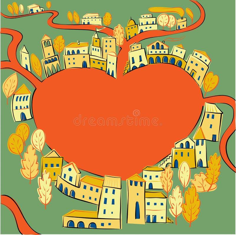 Улицы сердца иллюстрация штока