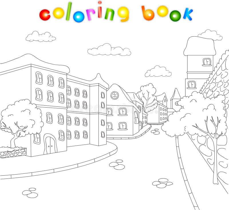 Улицы старого городка Книжка-раскраска для детей о archit иллюстрация штока