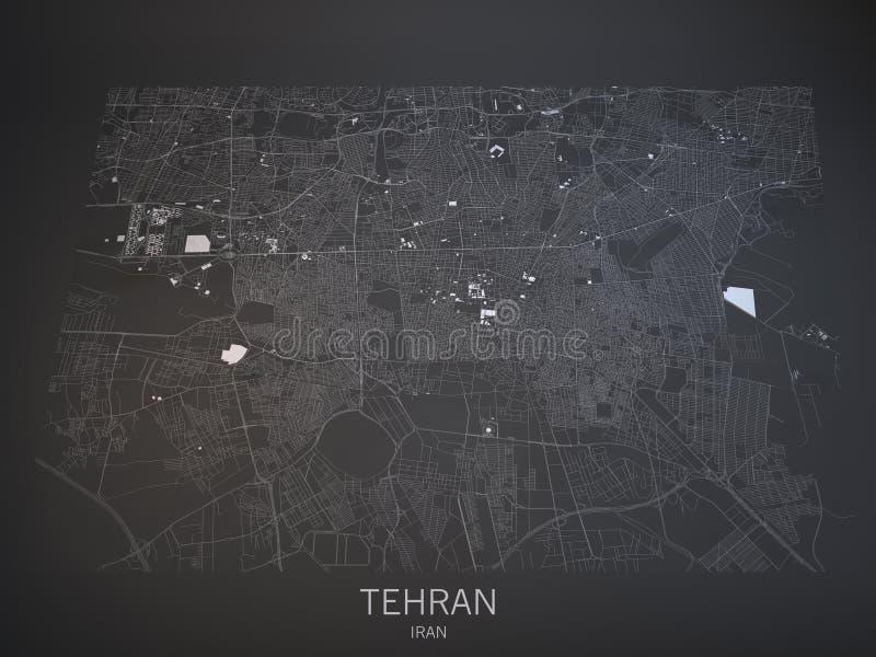 Улицы Тегерана и здания 3d составляют карту, Иран иллюстрация вектора