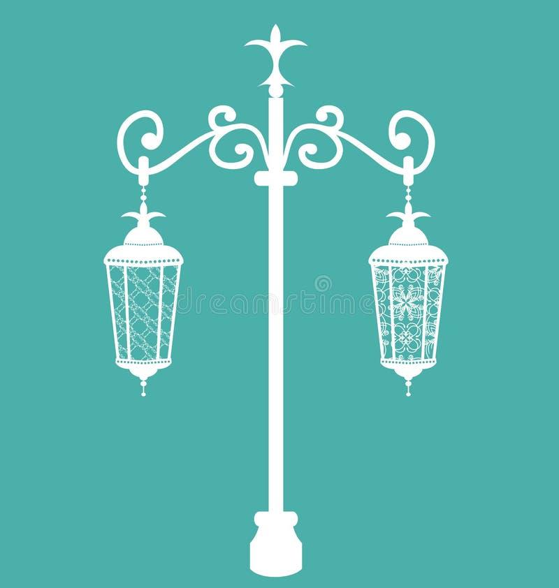 Уличные фонари винтажной вковки богато украшенные иллюстрация штока