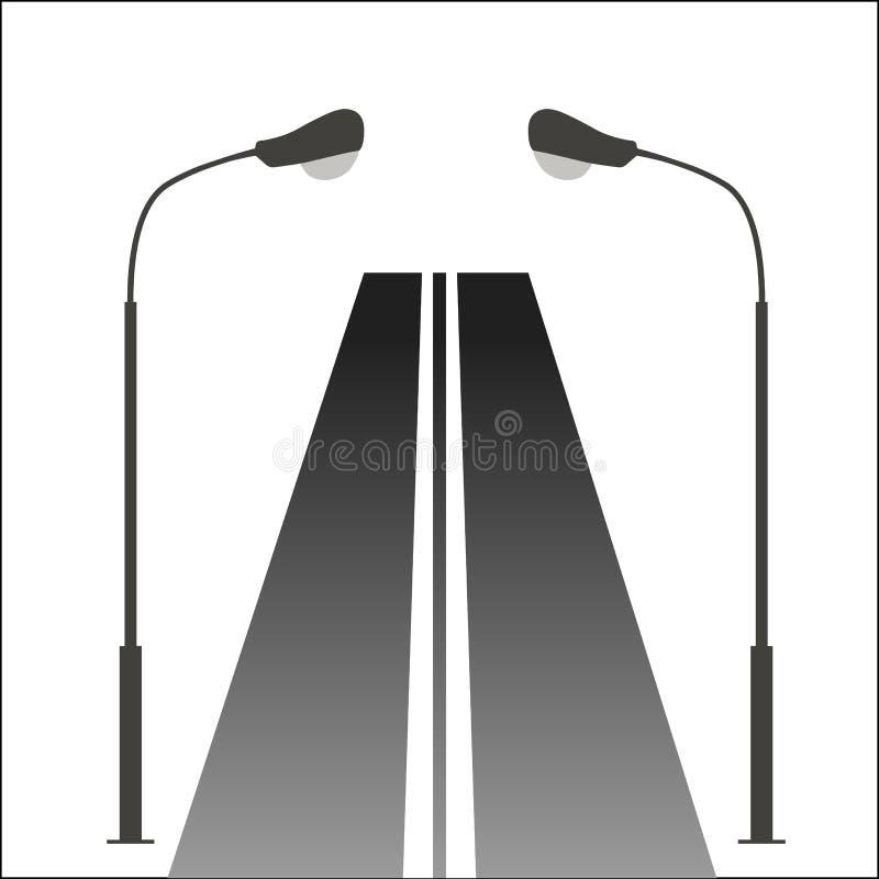 Уличный свет на дороге иллюстрация штока