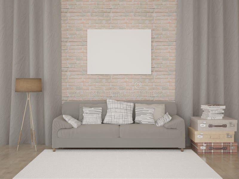 удобная живущая самомоднейшая комната иллюстрация штока