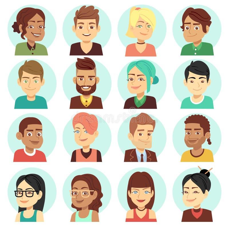 Удовлетворенные стороны людей, счастливый смеясь над комплект вектора портретов людей бесплатная иллюстрация