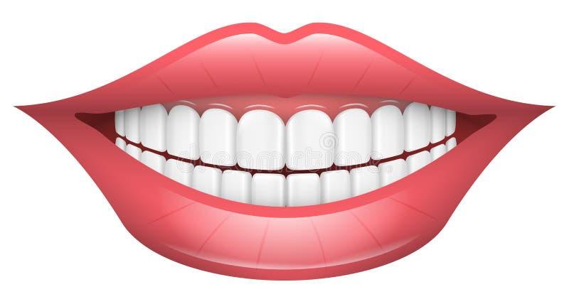 Улыбка, губы, рот, зубы иллюстрация вектора