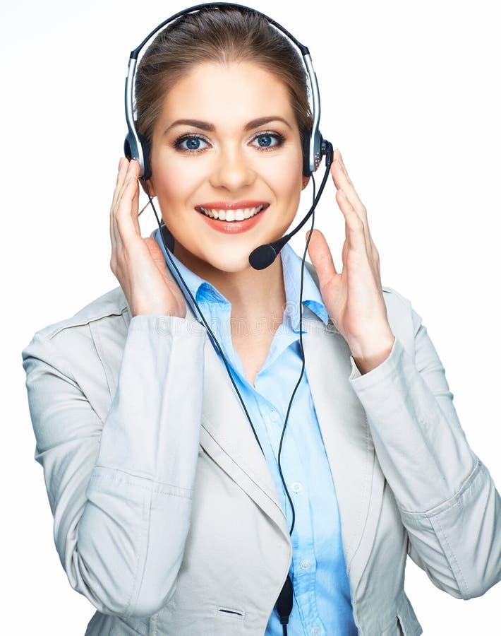 Улыбка обслуживания клиента opereator женщины одетая костюмом стоковое изображение rf