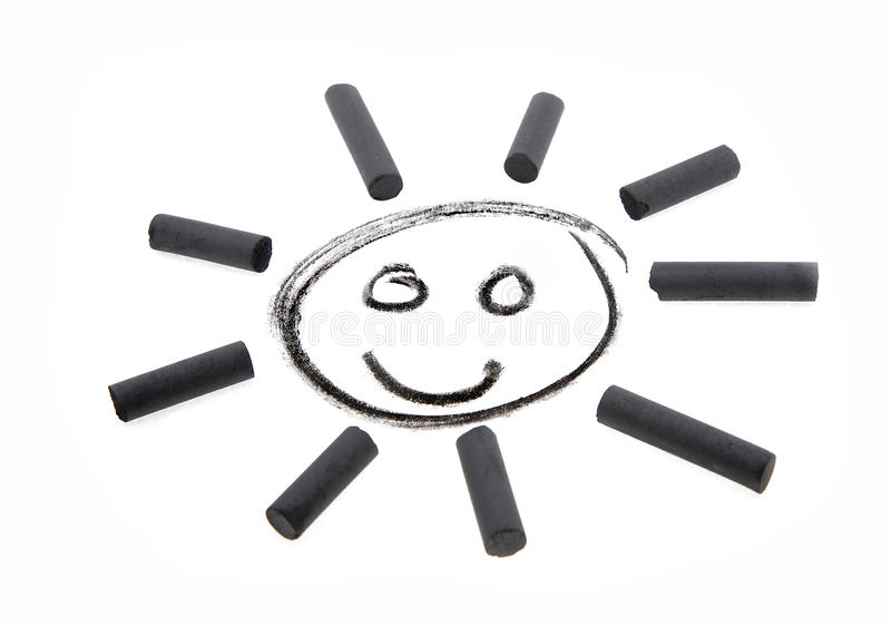 Улыбка угля чертежа Солнця стоковые изображения