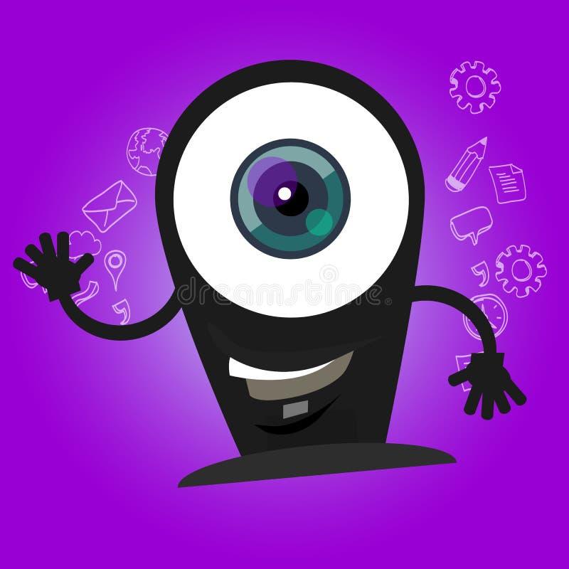 Улыбка шаржа характера глаз веб-камера камеры большая с стороной талисмана рук счастливой иллюстрация вектора