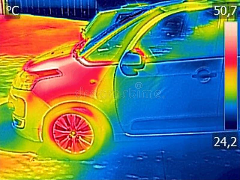 Ультракрасное изображение thermovision показывая двигатель автомобиля после управлять стоковые изображения