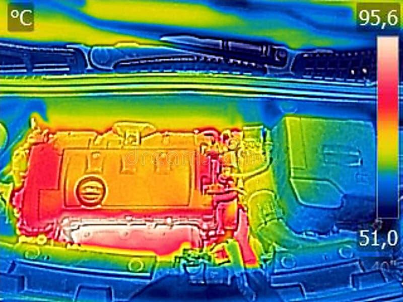 Ультракрасное изображение thermovision показывая двигатель автомобиля после управлять стоковое фото