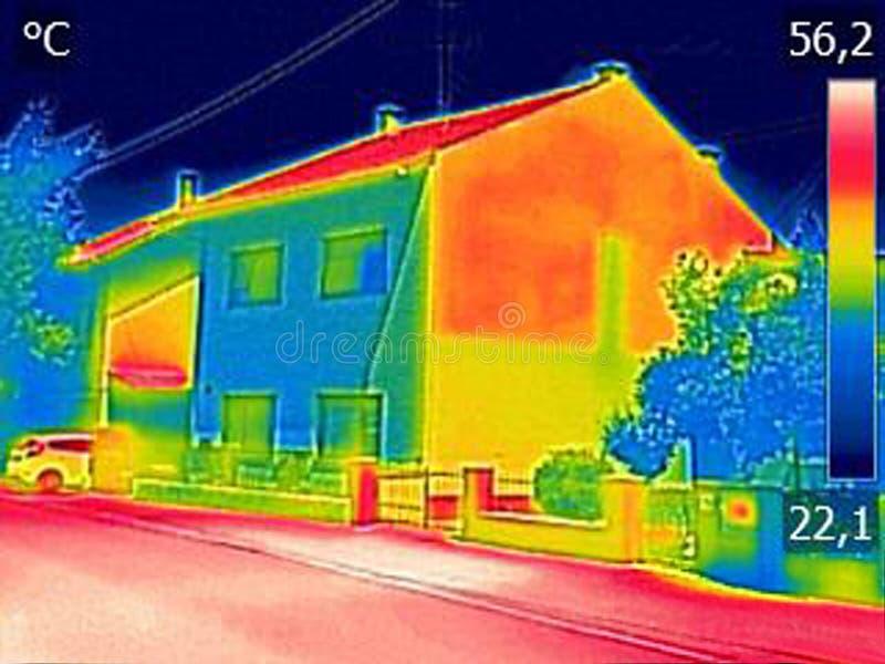 Ультракрасный недостаток показа изображения thermovision термоизоляции o стоковые изображения