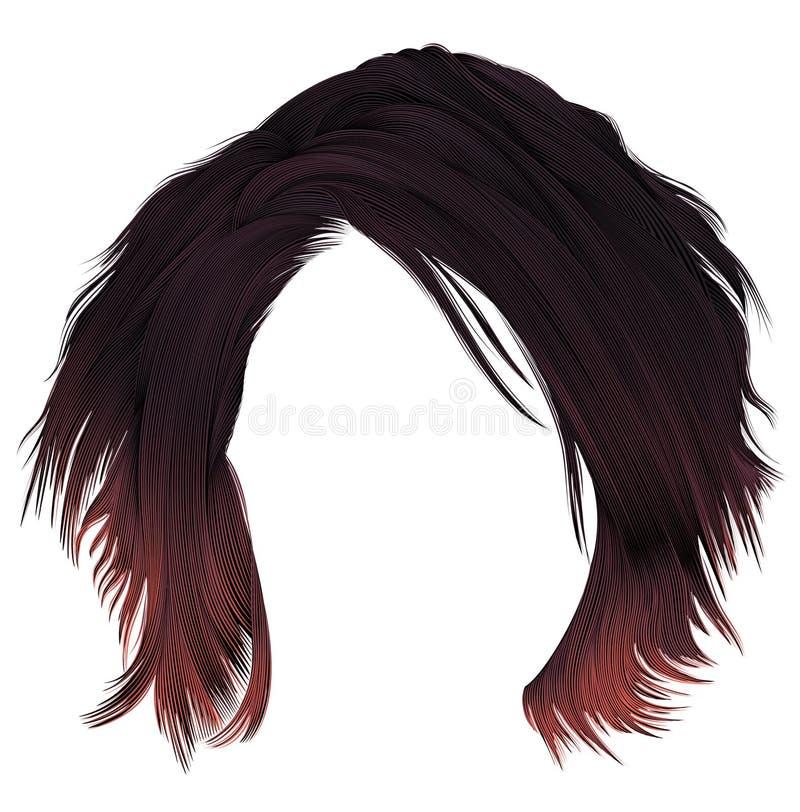 Ультрамодная женщина disheveled kare волос с расцветкой края темной varicolored красной средств длина Тип красотки Реалистическое бесплатная иллюстрация