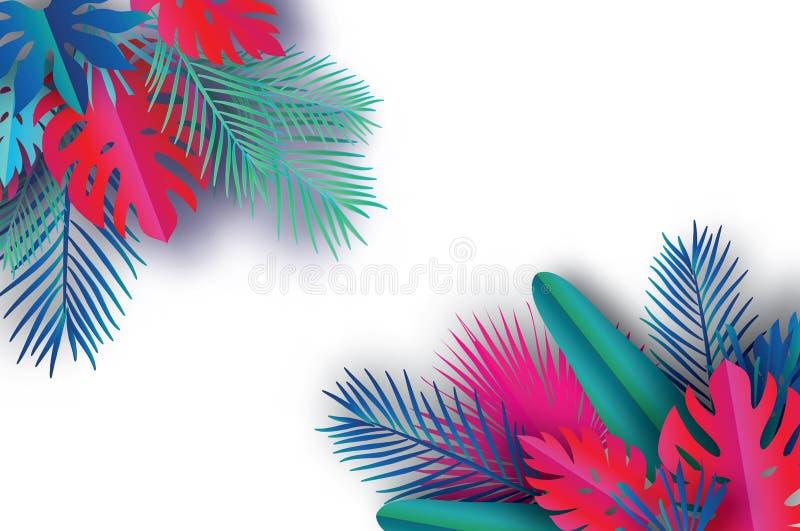 Ультрамодное знамя шаблона продажи лета Листья ладони бумажного искусства тропические, заводы экзотическо гаваиско Космос для тек иллюстрация штока