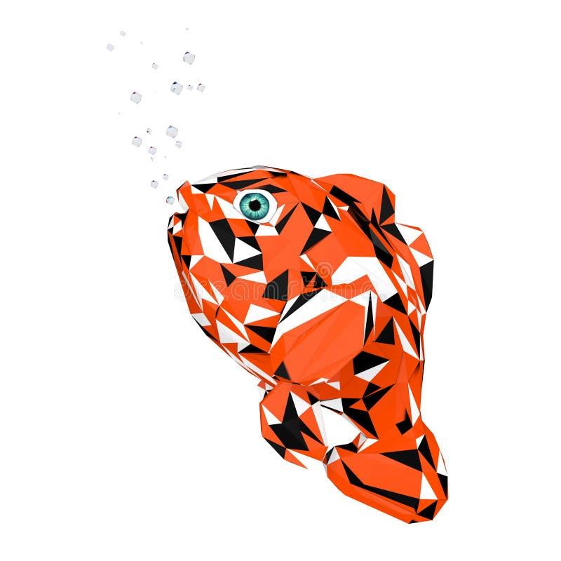 Ультрамодное Низко-поли Красное Море Clownfish шаржа стиля перевод 3d бесплатная иллюстрация
