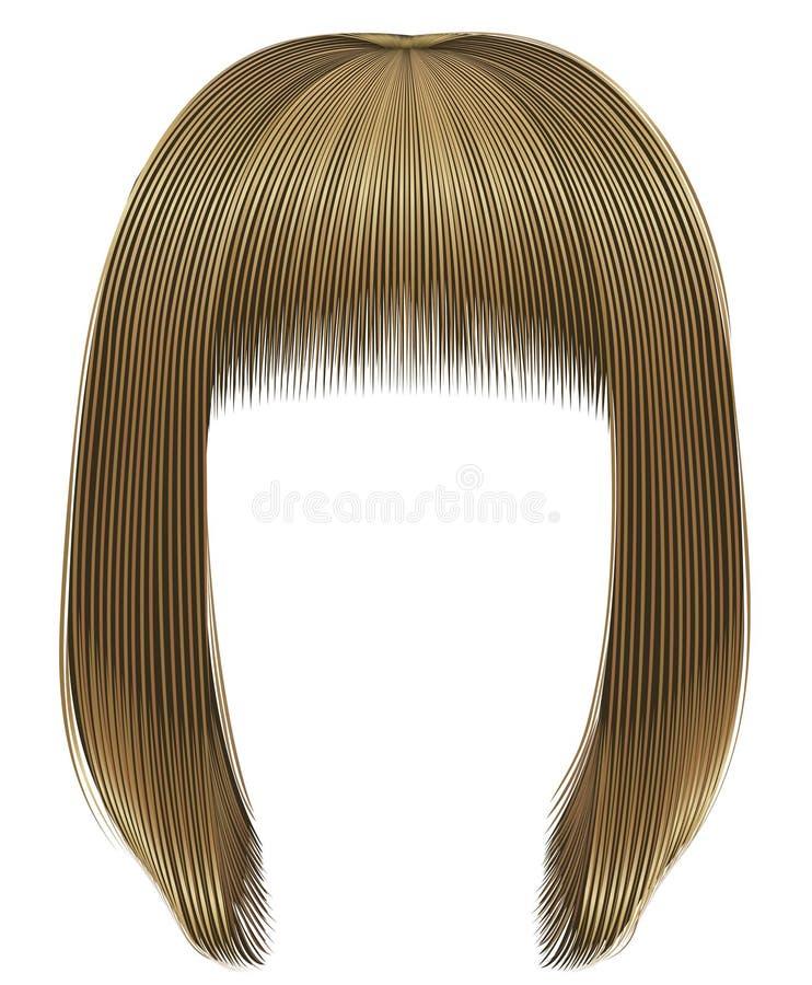 Ультрамодное kare bob волос женщины с краем светлые белокурые цвета средств длина Тип красотки иллюстрация штока