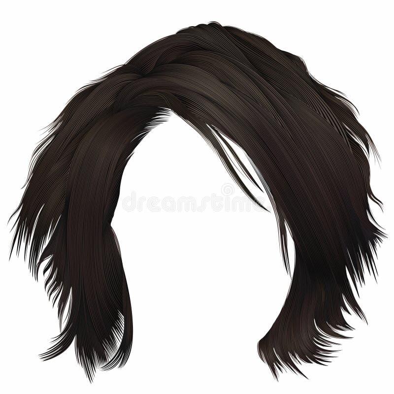 Ультрамодной disheveled женщиной kare волос с краем цвет брюнет темного коричневого цвета средств длина Тип красотки иллюстрация вектора