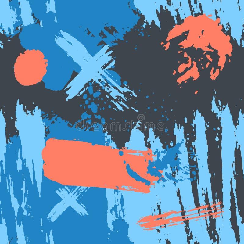 Ультрамодные безшовные обои при рука покрашенная с щеткой Вручите вычерченные геометрические текстуры картины сделанные с чернила иллюстрация вектора