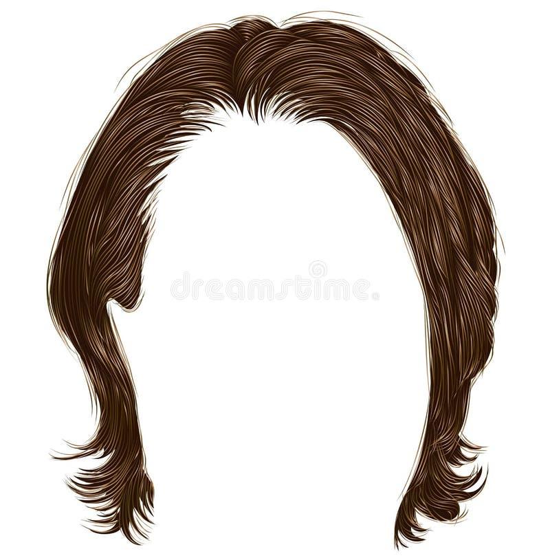 Ультрамодные волосы человека средств длина бобра Реалистическое 3d иллюстрация вектора