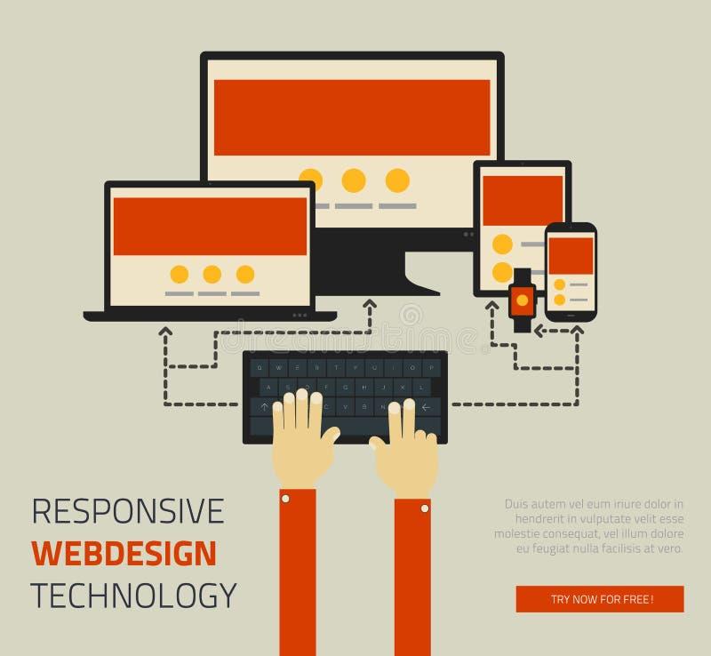 Ультрамодный отзывчивый дизайн страницы технологии webdesign бесплатная иллюстрация