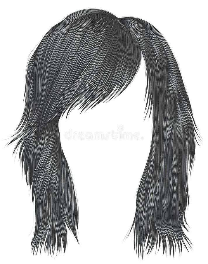 Ультрамодный цвет серого цвета волос женщины средств длина Тип красотки иллюстрация штока