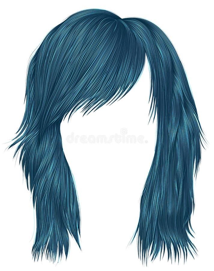 Ультрамодный цвет сини волос женщины средств длина Тип красотки бесплатная иллюстрация