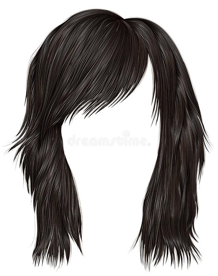 Ультрамодный цвет темного коричневого цвета волос женщины средств длина Тип красотки иллюстрация вектора