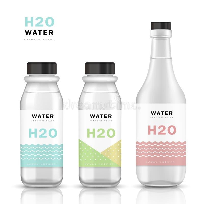 Ультрамодный шаблон бутылки с водой бесплатная иллюстрация