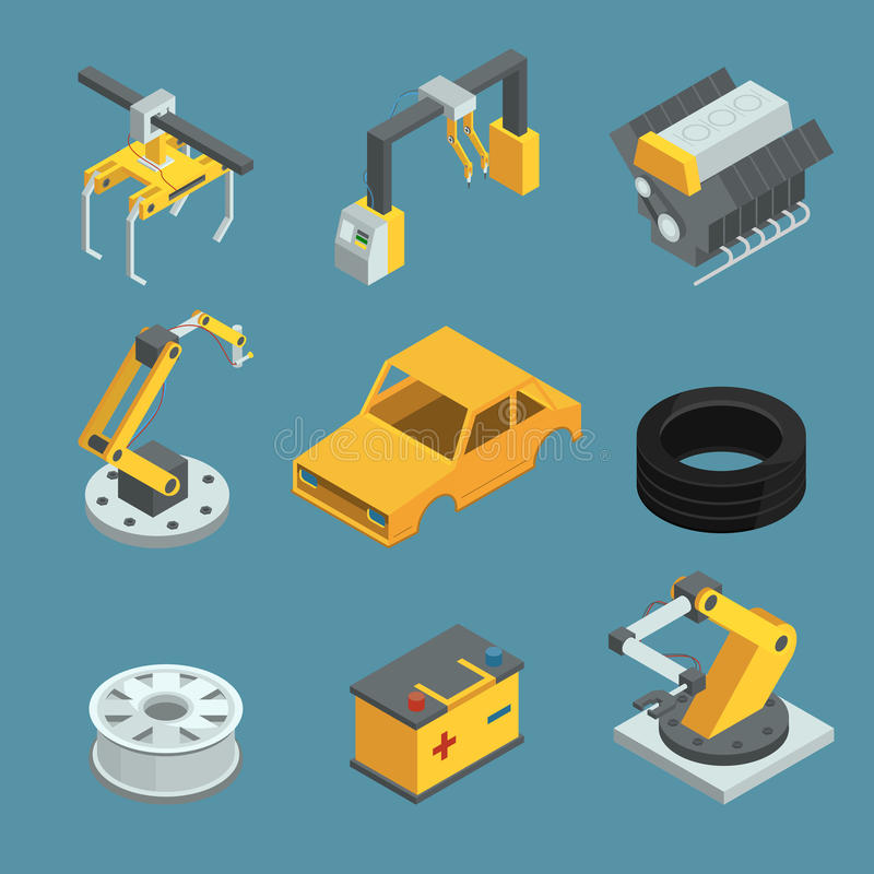 Фабрика автомобиля Различный метод для процесса производства Автоматизированная линия продукция машинного оборудования Роботы инд бесплатная иллюстрация