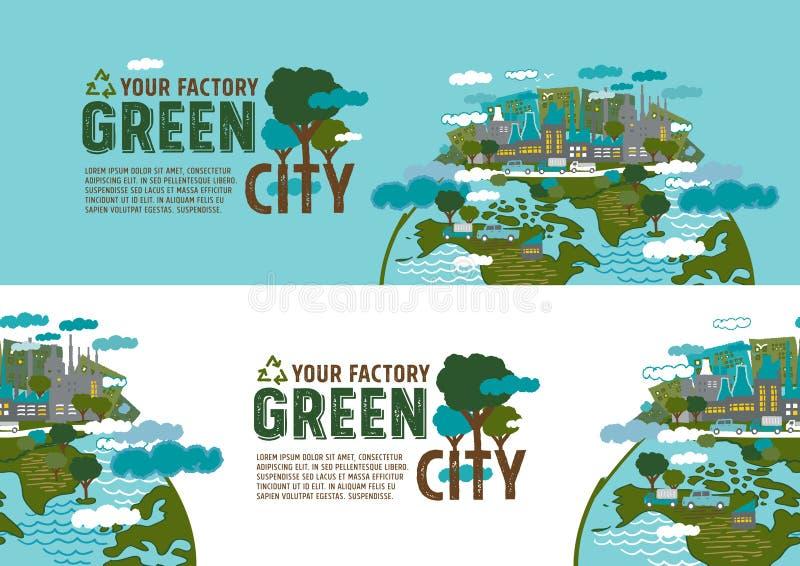 Фабрика в зеленой концепции знамени города иллюстрация штока