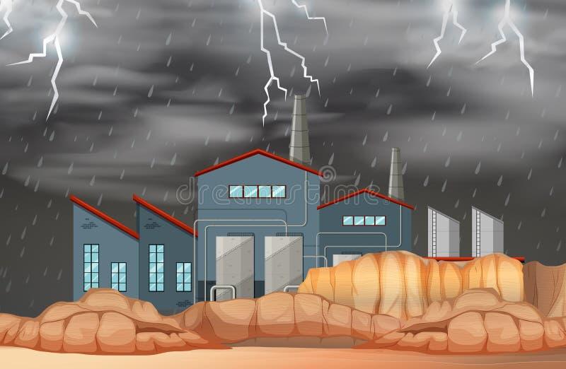 Фабрика в сцене плохой погоды иллюстрация вектора