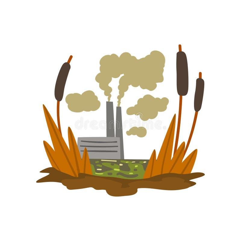 Фабрика загрязнения природы, болото ядовитых отходов, экологическая губительная проблема, концепция загрязнения окружающей среды, иллюстрация штока