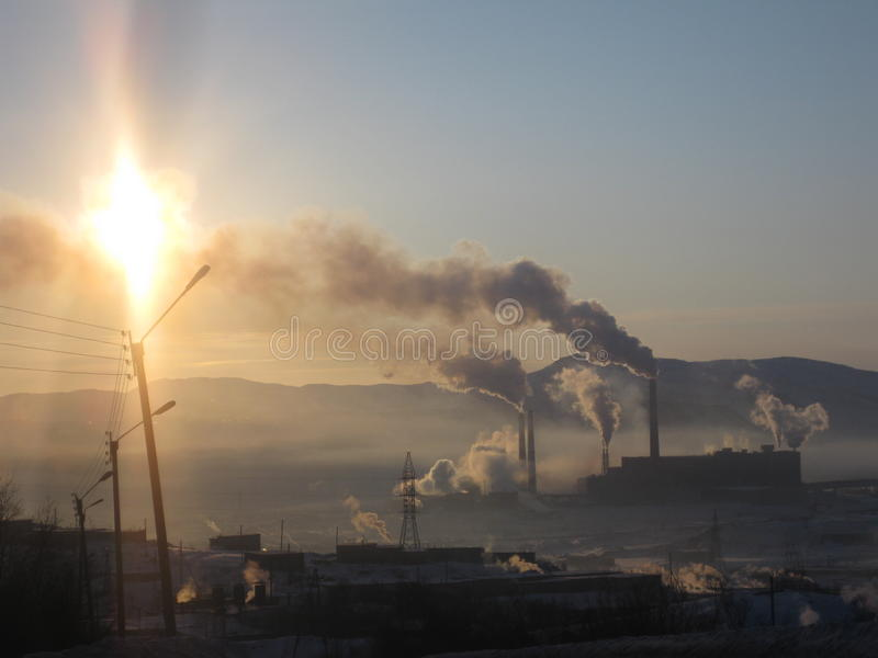 Фабрика зимы Мурманска стоковое фото