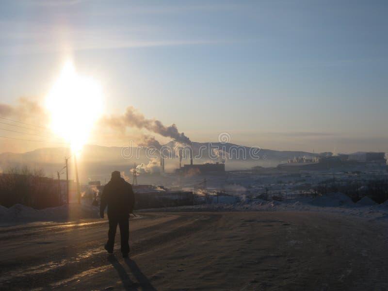 Фабрика зимы Мурманска стоковые фотографии rf