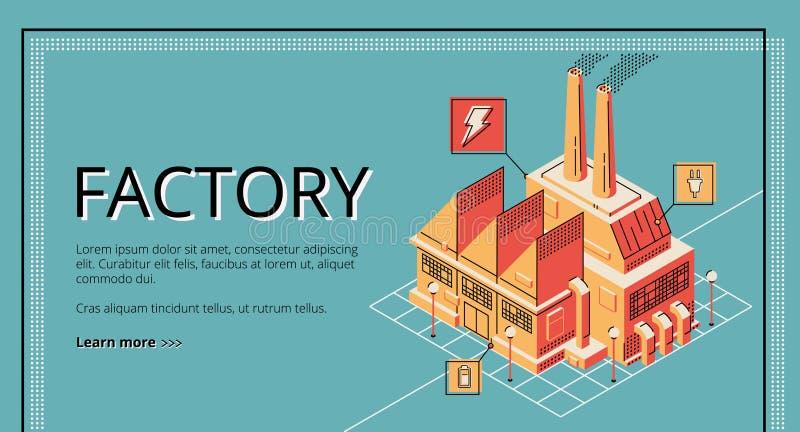 Фабрика, знамя здания завода поколения энергии иллюстрация штока