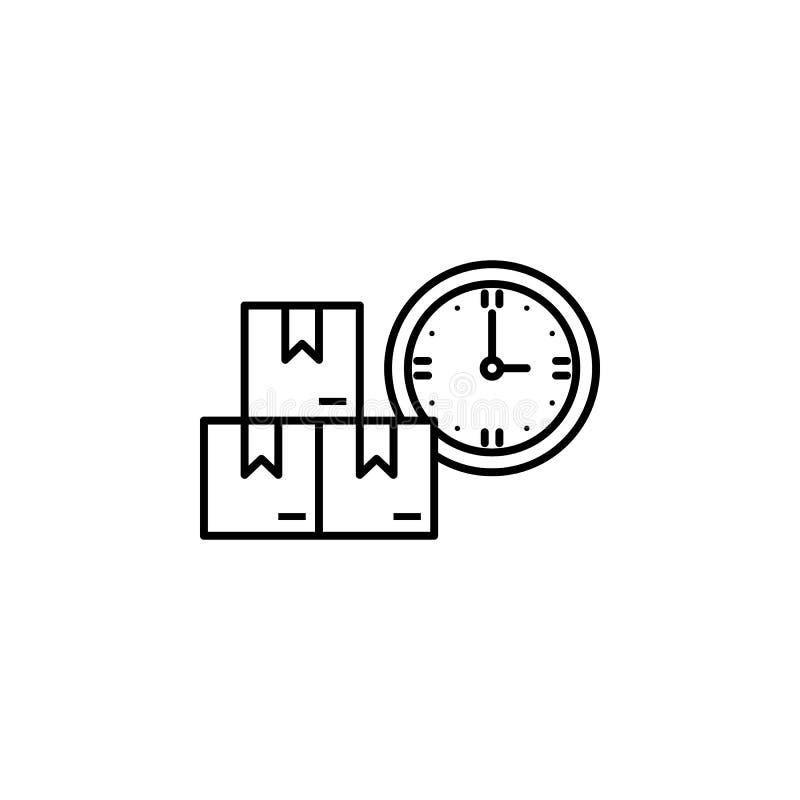 фабрика, коробки, значок часов Элемент значка продукции для передвижных apps концепции и сети Тонкая линия фабрика, коробки, знач бесплатная иллюстрация