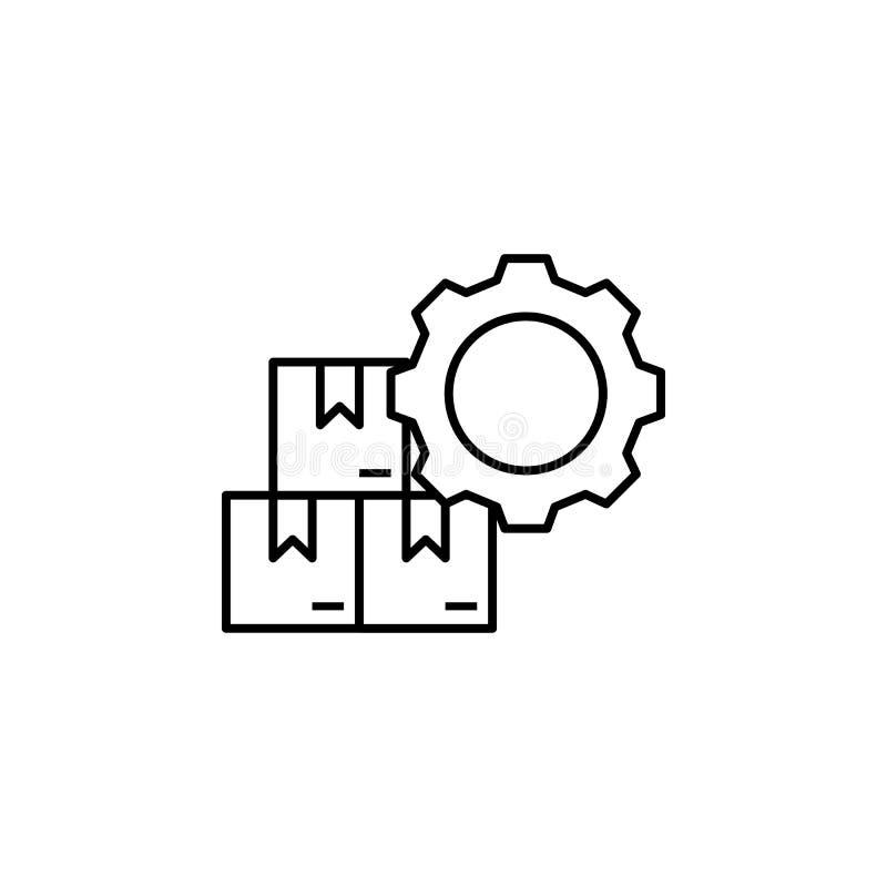 фабрика, коробки, значок шестерни Элемент значка продукции для передвижных apps концепции и сети Тонкая линия фабрика, коробки, з бесплатная иллюстрация