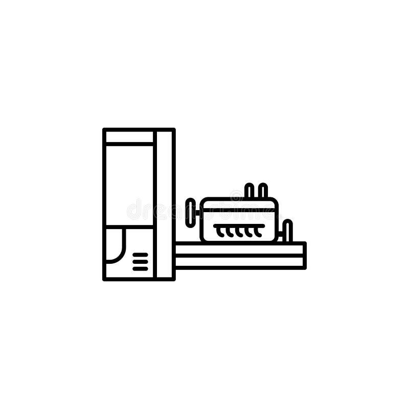 фабрика, машина, значок коробок Элемент значка продукции для передвижных apps концепции и сети Тонкая линия фабрика, машина, знач иллюстрация вектора