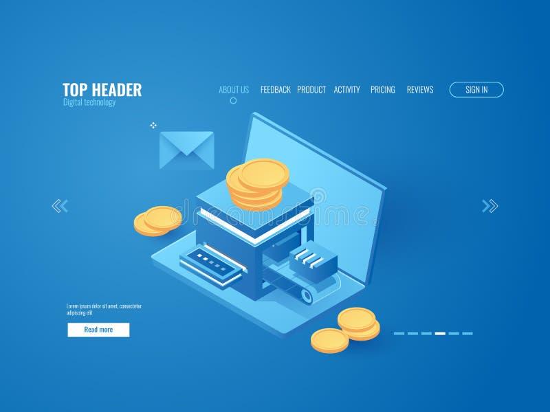 Фабрика минирования, компьтер-книжка с мини фермой, автоматизировала систему платежей, вектор tranzaction денег онлайн-банкингов  иллюстрация вектора