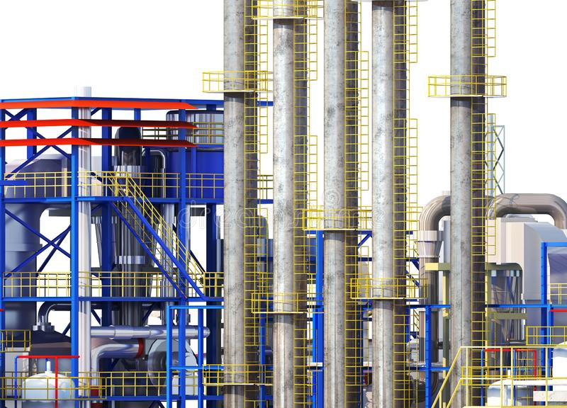 Фабрика снаружи, трубы фабрики бесплатная иллюстрация